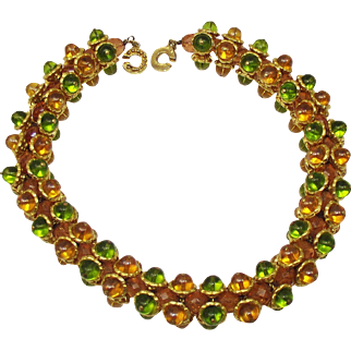French Couture Citrine and Peridot Gripoix Glass choker necklace