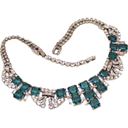 Marcel Boucher teal green square cushion rhinestone necklace