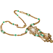 Vintage Guiliano Fratti jade glass lavalier necklace