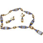 1920's Art Deco Czech glass and pearl necklace and earring demi parure.