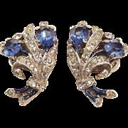 Trifari, Alfred Philippe, sapphire rhinestone and enamel earrings