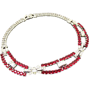 Marcel Boucher (unsigned) Ruby Rhinestone Choker Necklace.