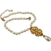Miriam Haskell faux Baroque Pearl Lavalier Necklace
