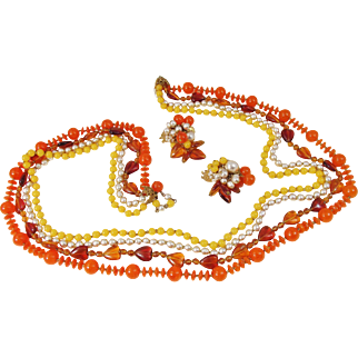 Miriam Haskell Necklace & Earrings set by Frank Hess, glass baroque pearl and amber glass.