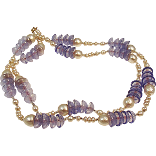 Vintage French glass pearl and lavender crackle glass sautoir necklace