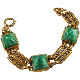 Art Deco sugar loaf Peking Glass Bracelet.