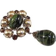 Christian Dior tourmaline poured glass and glass pearl brooch