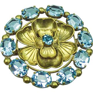 Vintage French 1930's Aqua Paste Rose Brooch