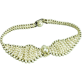 Louis Rousselet, French, Glass Pearl choker necklace