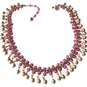 Miriam Haskell Glass Pearl & Pink glass bead necklace