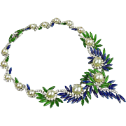 Christian Dior glass pearl with green and blue glass stones necklace.