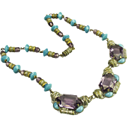Czech Neiger Turquoise & Amethyst Glass Necklace
