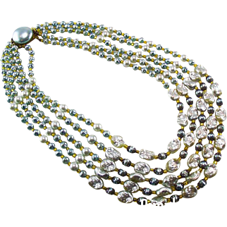 Vintage French 1950's five row Aqua glass pearl necklace.