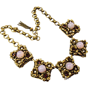 Vintage 1940's (post War) German made gold tone box chain and Opal glass panel necklace.