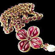 Chanel Gripoix Glass Sautoir Necklace.