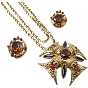 Florenza Maltese Cross Pendant Necklace and Earring Set.