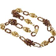 Archimedes Seguso for Chanel amber & gold tone link necklace.