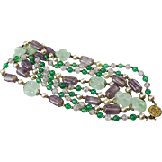 French 1930's purple and green poured glass Sautoir Necklace.
