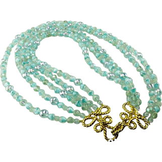 Marcel Boucher five row necklace of aquamarine glass beads.