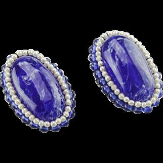 Louis Rousselet Lapis blue poured glass ear clips. 1940's