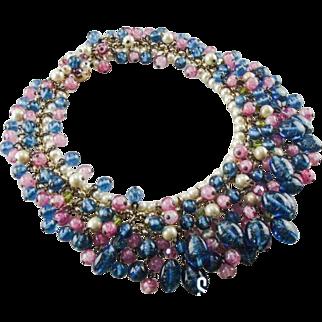 Vintage 1960's aqua and pink bead fringe bib necklace.