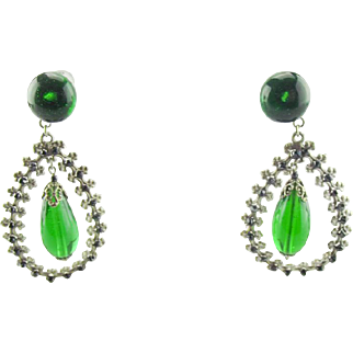 Vintage 1940's French green poured glass drop earrings.