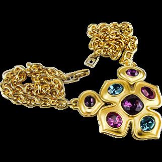 Byzantine Revival Maltese Cross pendant necklace by Napier.