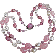 Louis Rousselet pink poured glass and silver foil necklace