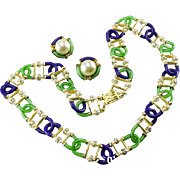 Archimede Seguso for Chanel Green and Blue Necklace and Earring Set.