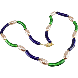 Murano cobalt blue and foiled green glass tube bead necklace