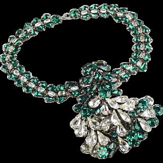 Stunning  Roger Jean Pierre  French rhinestone bib necklace.