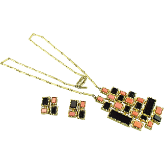 Vintage 1960's modernist pendant necklace and earring set by D'Orlan of Canada.