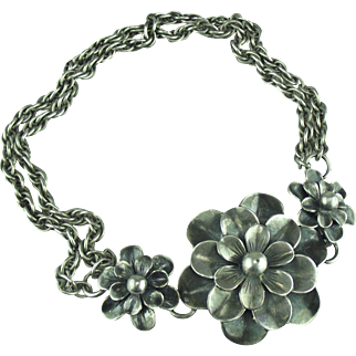 Joseff of Hollywood Silver tone Camelia Necklace