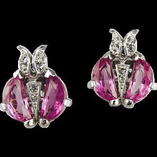 Trifari, Alfred Philippe, Pink Demi Lune Earrings