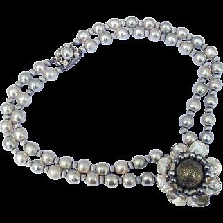 Louis Rousselet Pearl Floral Necklace