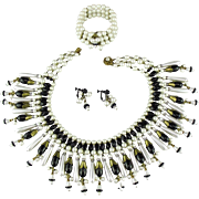 Miriam Haskell black glass bead, glass pearl and rhinestone Egyptian Revival Set.