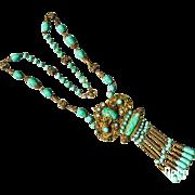 Czechoslovakia Max Neiger Peking Glass Lavalier Necklace