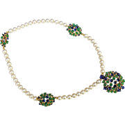 Vintage 1960's single row glass pearl necklace. with green and blue cabachon panels, possibly Henkel & Grosse For Dior .