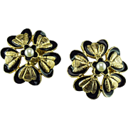 Vintage late 1950's Chanel floral Bee motif earrings.