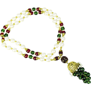 Vintage Mogul style glass pearl and poured glass bead necklace.