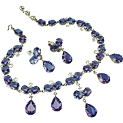 Beautiful French vintage demi parure faux Tanzanite bib necklace and earrings set.1950's