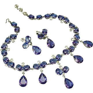 vintage faux Tanzanite bib necklace and earrings set.