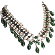 Vintage French made Louis Rousselet emerald and bronze poured glass collar necklace.