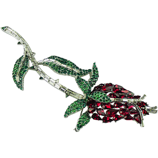 Rare Trifari, Alfred Philippe, large Rose Bud Pin