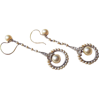 French 1920's Belle Epoque Silver drop earrings