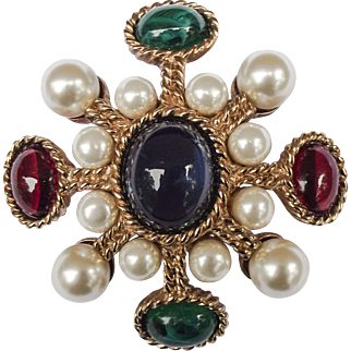 Vintage Ciner Maltese Cross Brooch