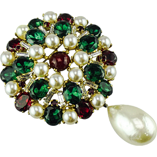 Early Christian Dior ruby, emerald and clear paste set brooch