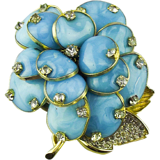 Nettie Rosenstein turquoise Gripoix glass and rhinestone Camelia Brooch.