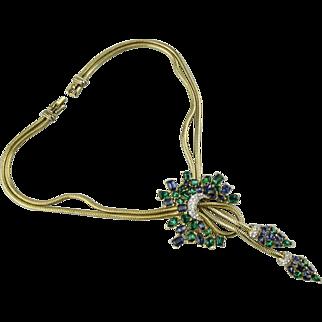 Trifari Jeweled Symphony emerald and sapphire rhinestone slider necklace.