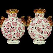 Pair Antique Bohemian Lobmeyr opaline glass Vases w/ pink enamel flowers
